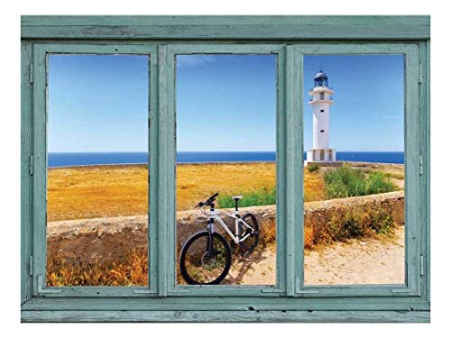 wall26 - View of a Lighthouse and Seawall Overlooking an Calm Ocean - Wall Mural, Removable Sticker, Home Decor - 36x48 inches ()