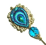 CARNIVAL COLORS PEACOCK FEATHER Stick Hat Pin Long Hatpin Gold Plated Victorian Style with CZECH GLASS BEAD