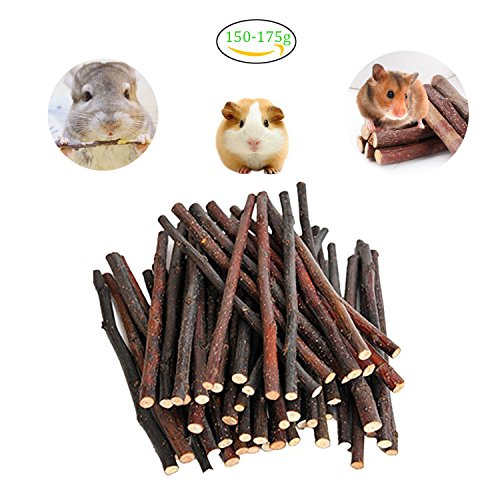 Maycoo 150g Organic Apple Sticks Chew Toys for Chinchilla, Guinea Pigs, Rabbits, Hamster, Squirrel and Other Small Animals (Animal Apple Small)