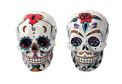 Pacific Giftware Day Of The Dead Skulls Salt Pepper Shakers Figurine Home Decor, multi-colored, 5 x -