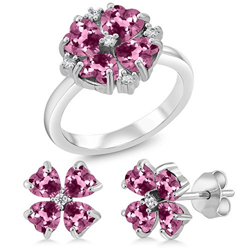 3.49 Ct Heart Shape Pink Tourmaline 925 Sterling Silver Ring Earrings Set (Ring Size 8) by Gem Stone King
