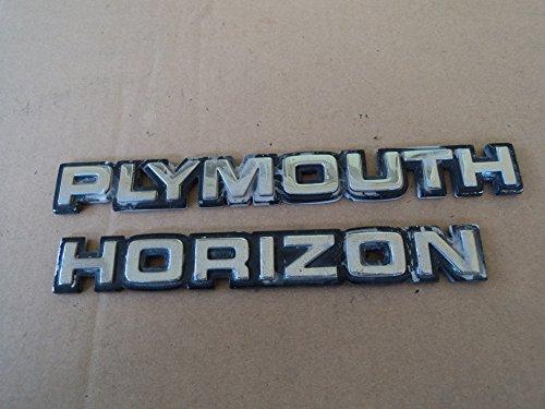 - Chrysler Plymouth Horizon Rear Trunk Used Emblem Logo Badge Nameplate SET of 2 Decals