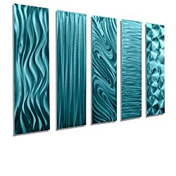 Statements2000 Aqua Metal Wall Art Decor, 5 Piece Set of Modern Wall Art by Jon Allen Metal Art - 5 Easy Pieces Aqua