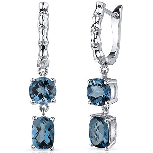 London Blue Topaz French Clip Earrings Sterling Silver 4.00 Carats