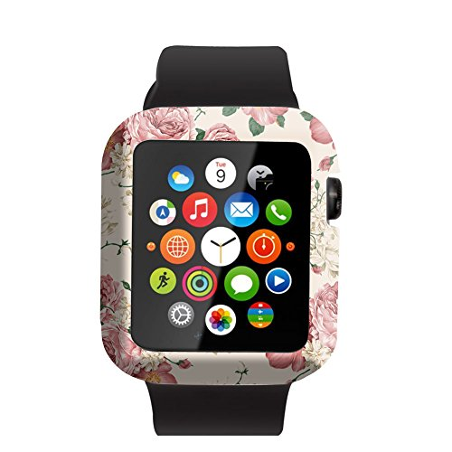 Case Replacement for Iwatch 42mm & Cisland Flexible Protective Protector Cover Compatible for Apple Watch 42mm Series 1/2/3 Sport & Edition Vintage and Fresh White and Red Rose Pattern