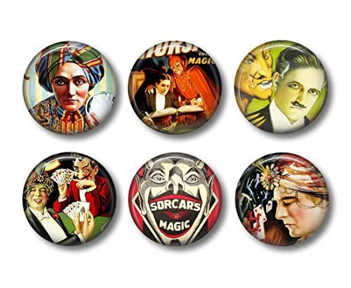 Magician Magnets - Fridge Magnets - Gothic Decor - 6 Magnets - 1.5 Inch Magnets - Kitchen Magnets - Spooky Decor - Fortune Teller - Magic Magnets - Gothic Kitchen