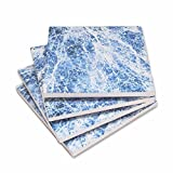 T&P Souvenir Set of 4 - Marble Ceramic Coaster - Absorbent Coaster For Wine Glasses, Drinks and Beverages - House Warming Gift - Coaster for Mugs and Cups