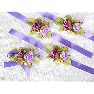 Secret Garden Wrist Corsage Flower for Prom Night Wedding Bridal Bridesmaid Ceremony Party(Pack 4) (Purple Theme) 43