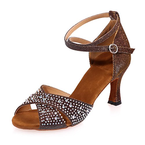 De Satén Marrón Del 7 yc Brown Baile Tacón Mujer 5cm Para Altura Latin Zapatillas Acampanado Ballroom L 6EUwZxzqZ