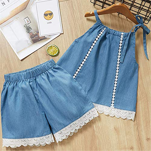 ZHIZHEN 2 Summer Style Girls 2019 Cute Flower Sleeves Children's Clothing Shorts Suit 5T Blue -