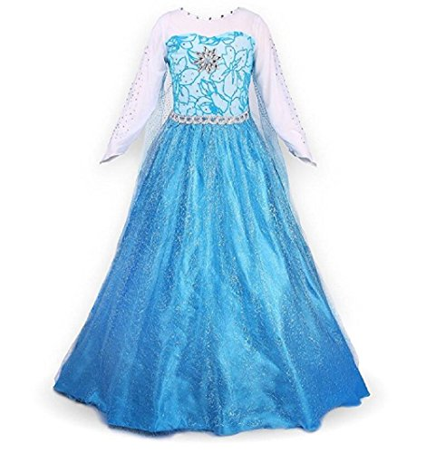 Elsa Blue Dress (Nethaniah Snow Party Dress Queen Costume Princess Cosplay Dress Up)