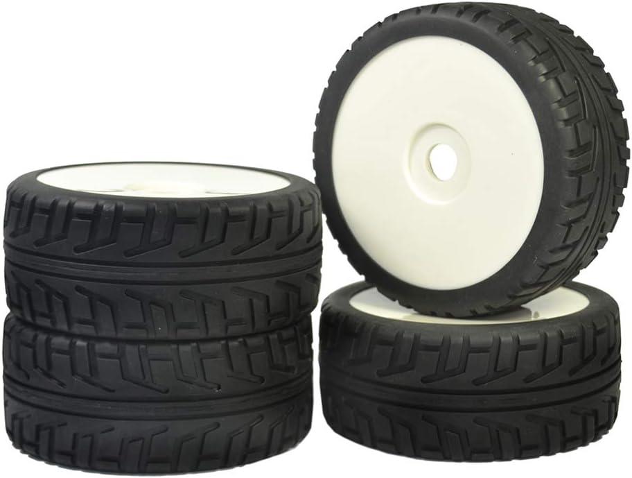 WEIZEU Gummi-Reifen 4 St/ück RC 1:8 On Road Buggy Kunststoff Wei/ß Felgen Street Reifen Hub HEX 17 mm mit Schaumstoff eingelegt