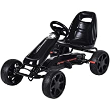 Costzon Go Kart, 4 Wheel Powered Racer Outdoor Toy, Kids Ride On Pedal Car (Black)