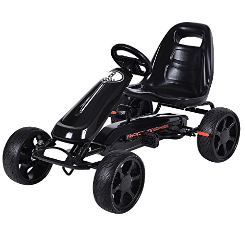 Costzon Go Kart, 4 Wheel Powered Racer Outdoor Toy, Kids Ride On Pedal Car (Black) (Racer Toy Car Pedal)