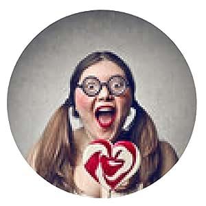 alfombrilla de ratón lollipop del corazón - ronda - 20cm
