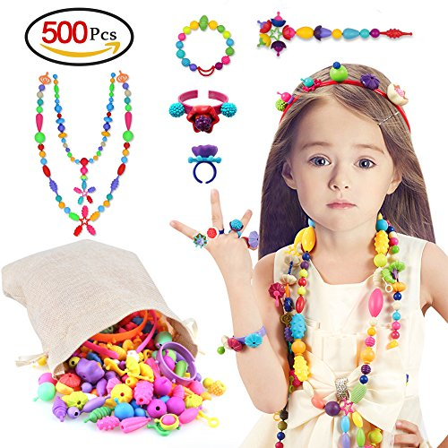 Holody Pop Beads - Arts and Crafts Kits Creative DIY Jewelry Set Toy for Kids Toddlers, Ideal Birthday Christmas Gifts for 4, 5, 6, 7 Year Old Girls - Making Necklace Bracelet Ring Hairband (500 PCS)