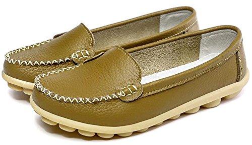 Summerwhisper Kvinna Bekväma Drivande Skor Anti Skid Läder Slip-on Lägenheter Loafers Båt Skor Khaki
