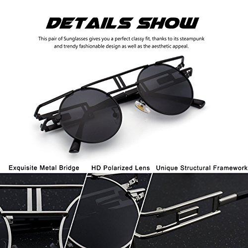 B metálico E71 retro gafas sol CGID Negro de Steampunk para polarizadas círculo hombres inspirado redondo estilo Negro BHxC6w4