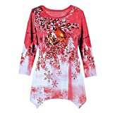 WOCACHI Final Clear Out Christmas Womens Blouses Xmas Drape Hem Sweatshirt Pullover Tops Shirts Black Friday Cyber Monday Winter Bottoming Shirt Reindeer Crew Neck Warm (Red, X-Large)