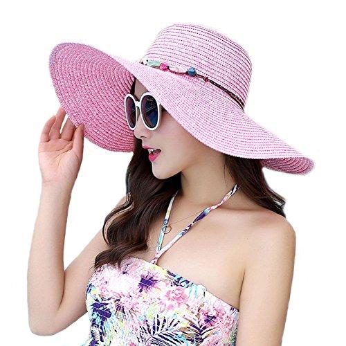 Pink Hat Accessories - Adrinfly Women Floppy Sun Hat Travel Packable Wide Brim Adjustable Beach Straw Accessories Hat UPF 50+ Pink