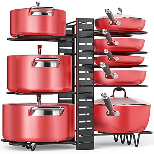 Pan Organizer Rack for Cabinet, Pot Rack with 3 DIY Methods, Adjustable Pots and Pans Organizer under Cabinet with 8…