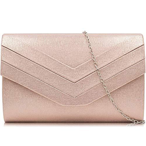 Milisente Clutch Purses Crossbody Shoulder Handbags for Women, Envelope Evening Clutch Bag (PU Rose Gold)