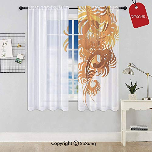 Ornaments Flowers Waves Pattern Artistic Curvy Leaves Swirls Graphic Design Window Curtain Sheer Voile Panels,for Kids Room,Kitchen,Living Room & Bedroom,2 Panels,Each 32x36 Inch,Orange Yellow Cream