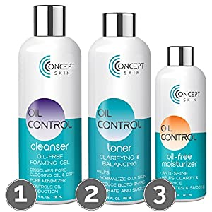 OIL CONTROL Natural Skin Care Set- Oily Skin & Acne Kit - Acne Face Wash, Witch Hazel Toner for Face & Oil Free Face Moisturizer for Oily Skin & Blemish Treatment -30 Day Skin Care Kit