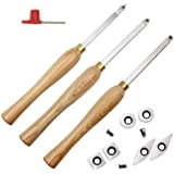 YUFUTOL Carbide Woodturning Tool Mini Size (3 Piece Set) Includes Diamond Shape, Round and Square Turning Tools With Comfort