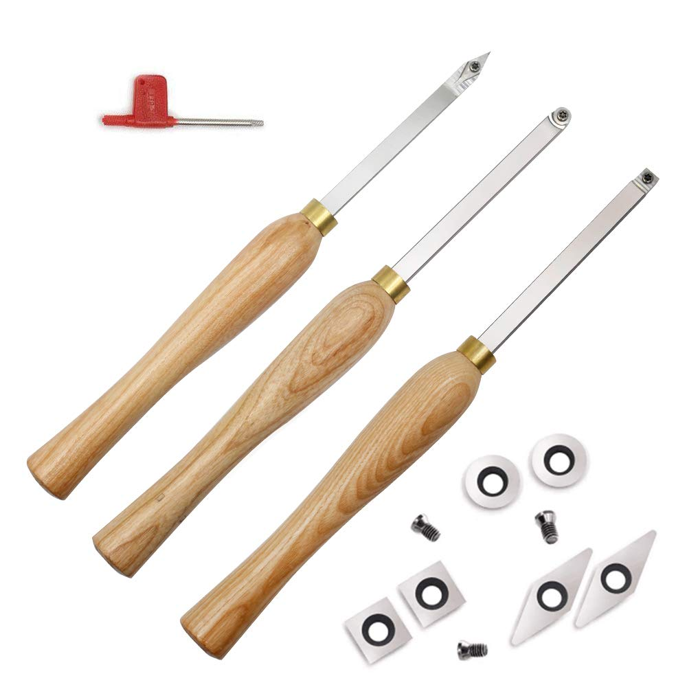 YUFUTOL Carbide Woodturning Tool Mini Size (3 Piece Set) Includes Diamond Shape, Round and Square Turning Tools With Comfort Grip Handles Perfect For Turning Pens or Small to Mid-Size Turning Project