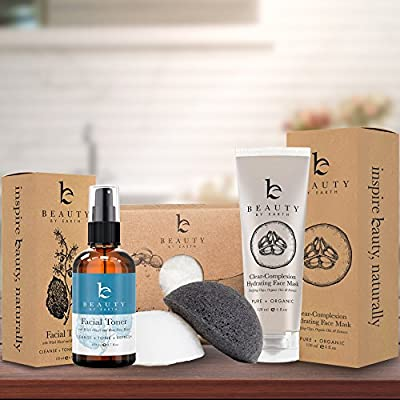 Beauty by Earth Skincare Bundle Facial Toner, Konjac Sponges & Face Mask Made with Natural & Organic Ingredients to Cleanse & Hydrate Skin