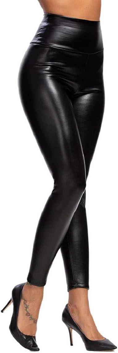 heekpek Pantalon de Cuero Skinny Elásticos Leotardos Pu Leggings Mujeres Invierno Grueso Cálido Forrado Traje Térmico