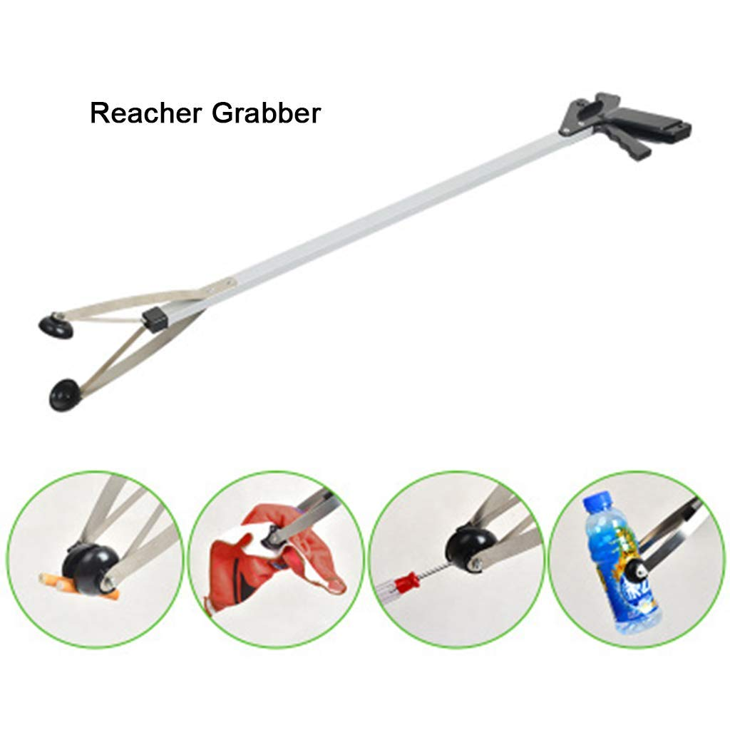 Folding Reacher Grabber, Extra Reach Extender,Extra Long Handled Shelf Tool, Trash Litter Picker, Garbage Garden Nabber Handle, Disabled Handicap Arm(2 Pack) by GYqH