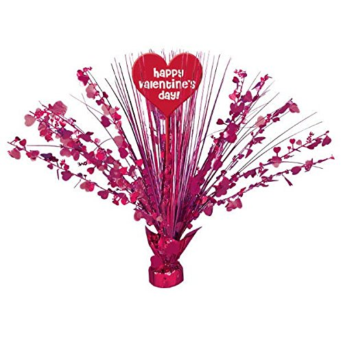Radiant Valentine's Day Party Heart Foil Spray Table Centerpiece Decoration, Red/Pink, Foil , 18