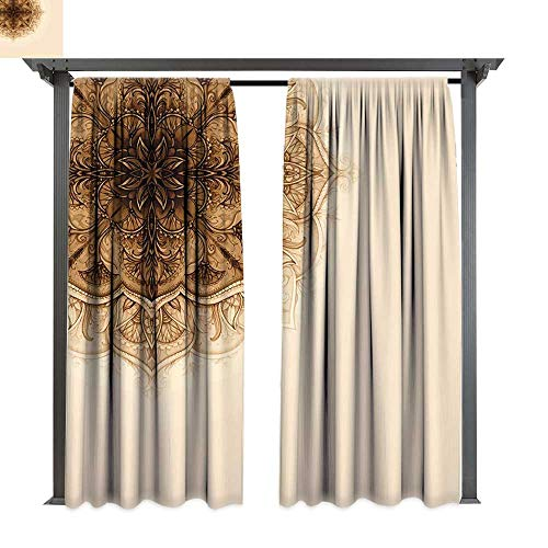 Ottoman Scalloped - leinuoyi Henna, Patio Curtains, Vintage Hand Drawn Style Mandala Artwork Corner Ornament Ottoman Culture Art Elements, Outdoor Curtain for Patio (W84 x L96 Inches Tan Brown