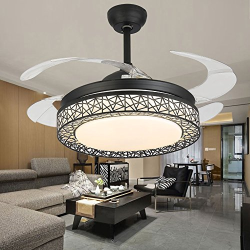 42 inches Dimmable Ceiling Fan Light Indoor Remote Control LED Pendant Light Acrylic Silent Retractable Invisible Ceiling Chandelier