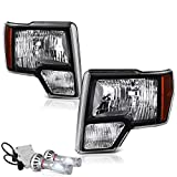 VIPMotoZ 2009-2014 Ford F-150 Headlights - Built In Cree LED Low Beam, Matte Black Housing, Driver and Passenger Side