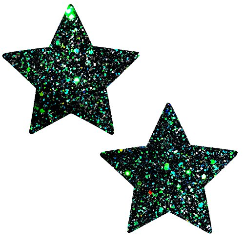 Neva Nude Super Sparkle Green Envy Glitter Starry Nights Nipztix Pasties Nipple Covers for $<!--$9.99-->
