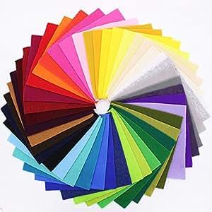 BINGONE Felt Fabric Sheets DIY Craftwork Assorted Colors 42pcs Squares (15x15cm)
