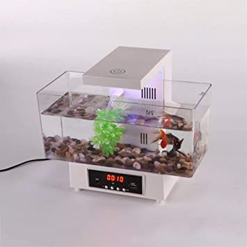 BeesClover Mini USB Tanque de Peces Acuario LED Luz Sonido Reciclado Agua Pequeño Electrónico Ecológico Acuario Pecera Calendario Reloj Blanco: Amazon.es: ...