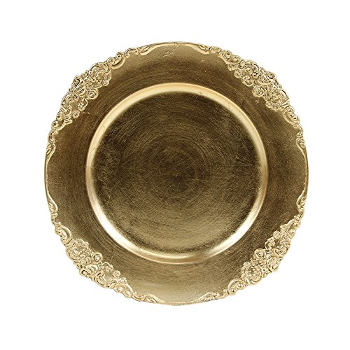 (Koyal Wholesale Vintage Charger Plate, Gold (Pack of 4))