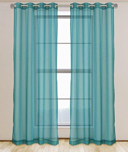 LJ Home Fashions 533 Aura Sheer Elegant Voile 2 Piece Grommet Curtain Panel Set, 54