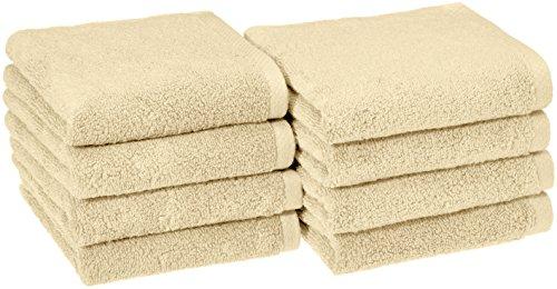 AmazonBasics Quick-Dry Hand Towels, 100% Cotton, Set of 8, Linen