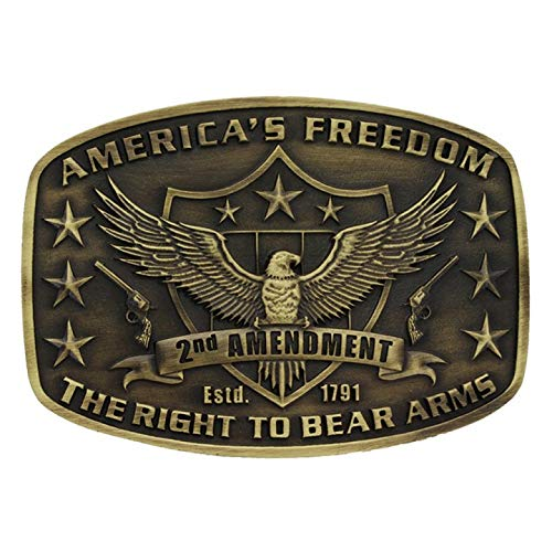 Bear Arms Belt Buckle - Montana Silversmiths Men's Second Amendment Heritage Attitude Belt Buckle Gold One Size