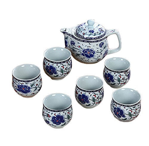 ufengke 7 Piece Vintage Chinese Kung Fu Tea Set, Ceramic Tea Cups And Teapot, Tea Service, Blue And Green Flower Pattern