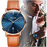 OLEVS Slim Watch for Men Day Date - Luxury Watches for Men and Comfortable Genuine Leather Band Watchs