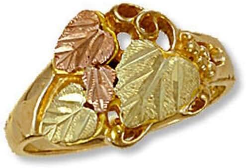 Landstroms Ladies 10k Black Hills Gold Ring with Leaves and Grapes - D2015