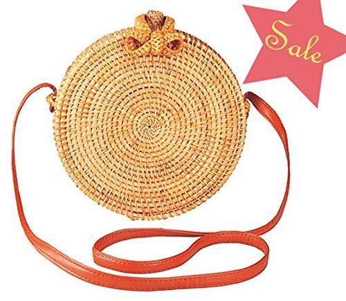 Handwoven Round Rattan Bag for women   Handmade Rattan Purse   Bohemian Shoulder Bag   Crossbody Straw Handbag (D: 7.9 in (L), Round ()