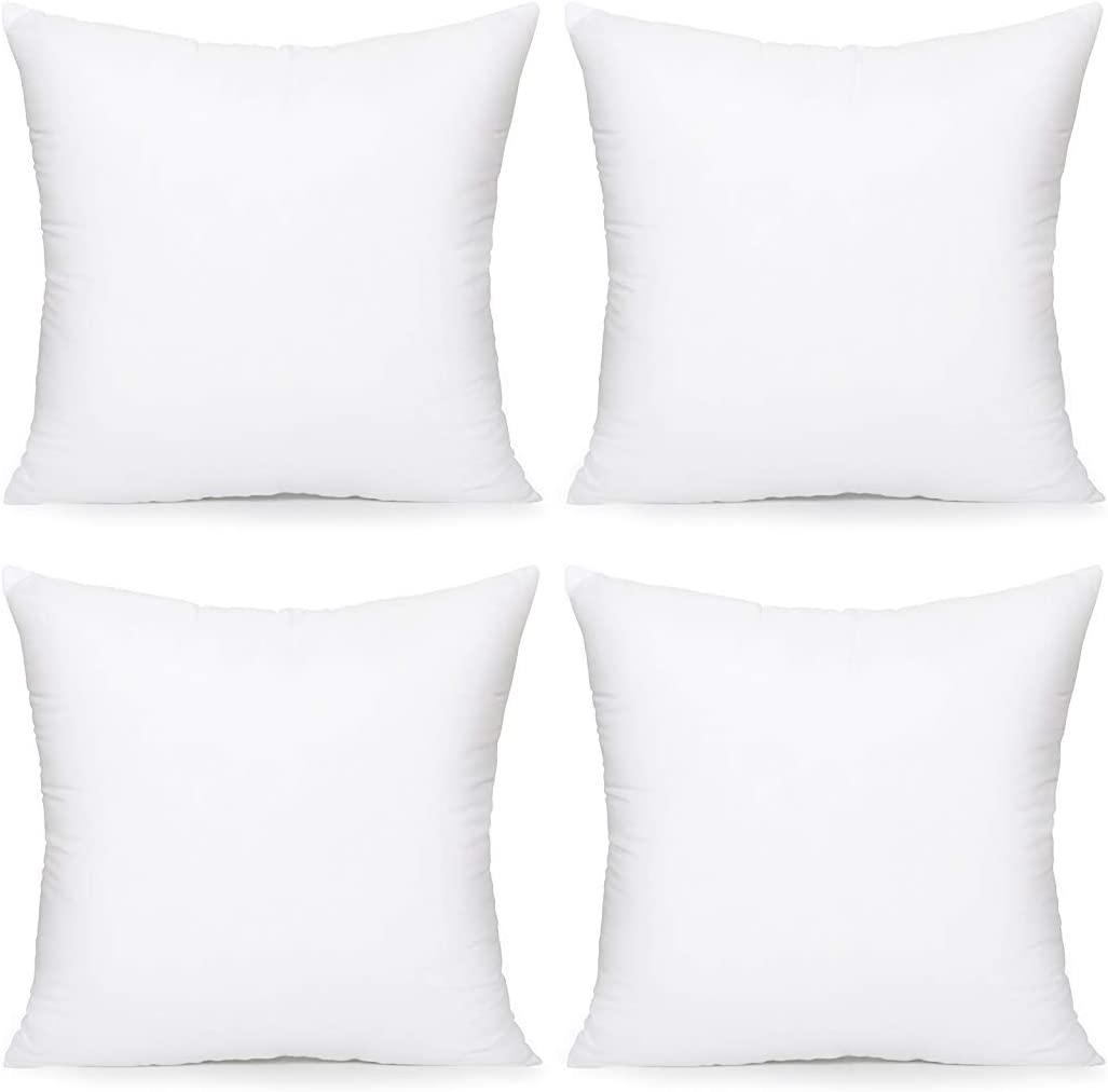 Acanva Throw Pillow Inserts Decorative Stuffer Soft Hypoallergenic Polyester Couch Square Form Euro Sham Cushion Filler 18 4p White 4 Count Home Kitchen Amazon Com