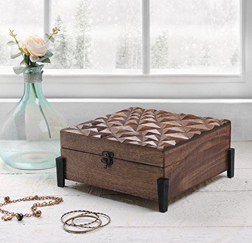 Store Indya Wooden Keepsake Storage Box Multipurpose Jewelry Trinket Makeup Accessories Holder Organizer with Hand Carved (Design4)